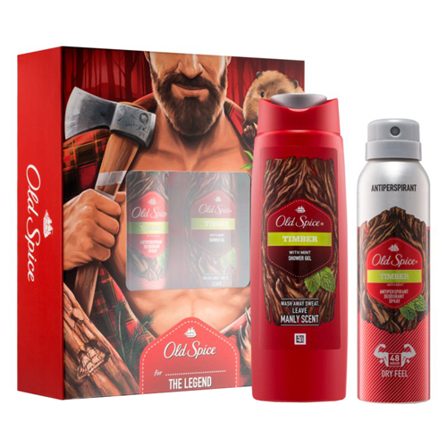 Old Spice Timber Gift Set: Deo Spray 150ml+SG 250ml