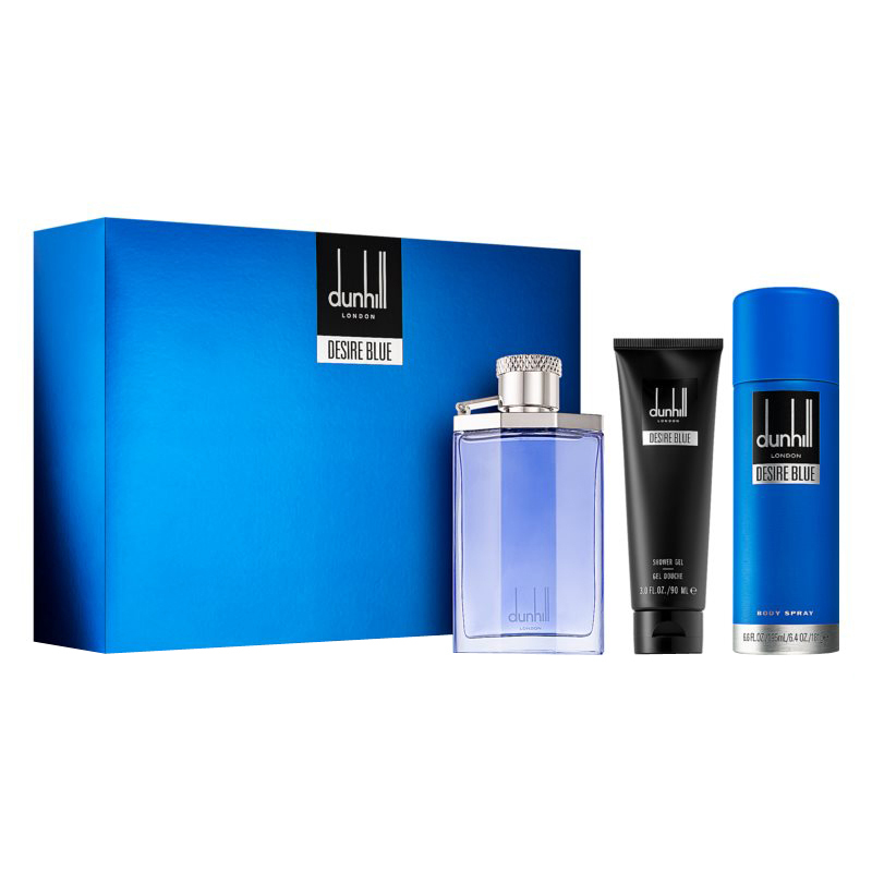 Dunhill Desire Blue Gift Set: EdT 100ml+SG 90ml+Deo Spray 195ml