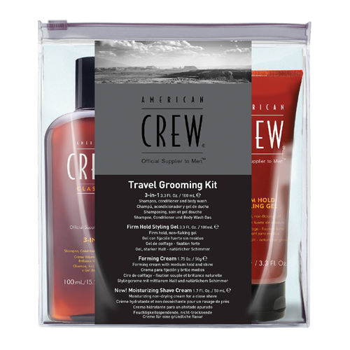 American Crew Grooming Kit: 3-in-1 Shampoo 100ml+Firm Hold Styling Gel 100ml+Forming Cream 50gr+Moisturizing Shaving Cream 50ml